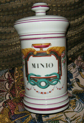 1870's A Collin Paris Apothecary Canister Lidded Jar Painted Colorful Antique