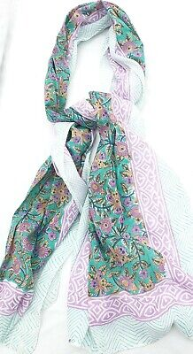 Pure Indian Cotton Fabric Hand Block Print Long Scarf Pink Green Turquoise Mix