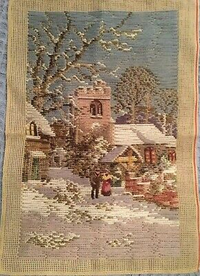 Lovely WINTER SCENE Tramme Tapestry + Wool Included. Petit Point Detail. Ex Cond