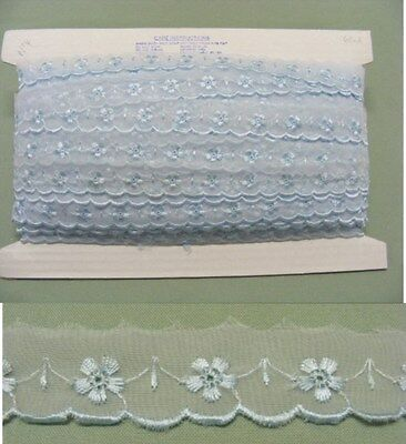 Embroidered Organza Lace No 4  Blue -68 metres