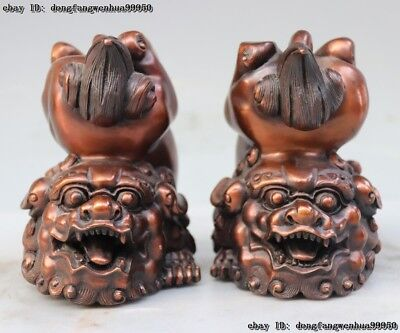 Chinese FengShui Pure Copper Bronze Fu Foo Dog Guardion Lion Animal Statue Pair