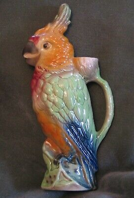 ANTIQUE PARROT MAJOLICA ABSINTHE St. Clement PITCHER w/flaw