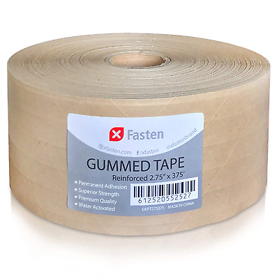 """2.75"""" x 375 Feet Brown Packing Tape Gummed Kraft Paper Roll For Mailing Sealing"""