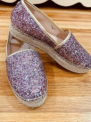 f02be34d8 Kate spade New York Linds Too Rose Gold Multi Glitter Napa Espadrille Flats  - 8m