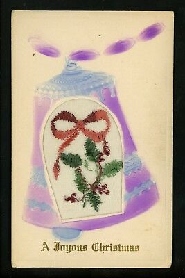 Novelty postcard Embroidered on Silk w/ frame Christmas greetings holly bells