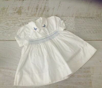 vintage Baby girls Dress Smocked Cotton Handmade  1960 with lovely note attached