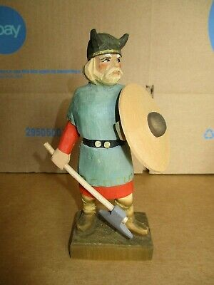 """Handcarved HENNING Wood Figurine, Norway, Viking w/Axe and Shield, 6.25"""", EC"""