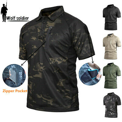 Army Mens Military T-Shirt Combat Shirts Tactical POLO Shirt Casual Camouflage