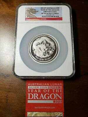2012-P Australia $8 Year of The Dragon 1st Releases NGC PF70UCAM 5oz .999 Silver
