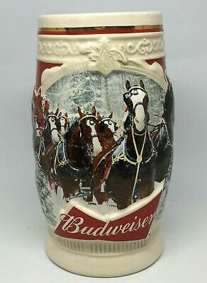 2015 Budweiser Holiday Stein Christmas Beer Mug 36th in Annual Series TINY CHIP