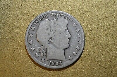1894 P 50C Barber Half Circulated Condition 90 % Silver US Coin  FREE SHIP