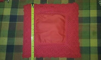 ladies 5 x  lace cotton hankys handkerchiefs new red