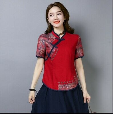 8deae54744ac Chinese Traditional Women s Top T-shirt Short Sleeve Blouse Cheongsam QiPao