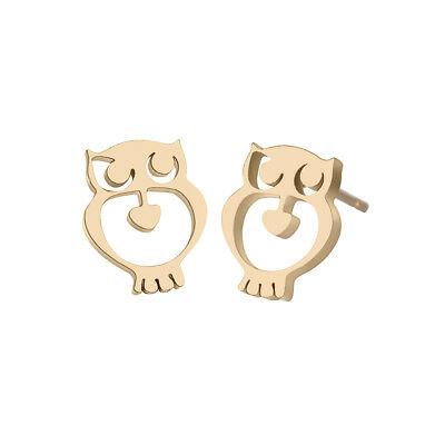 Lovely Gold Color Animal Owl Stud Earrings Stainless Steel Jewellery Accessories