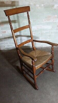 Antique Elm And Fruitwood Rocking Chair Rush Seat . Delivery Available