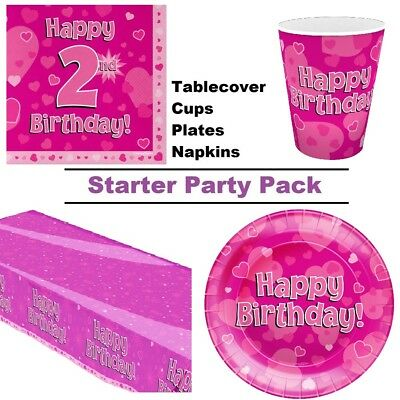 Happy 2nd Birthday Pink Hearts 8 48 Guest Starter Party Pack Cup Plate Napkin