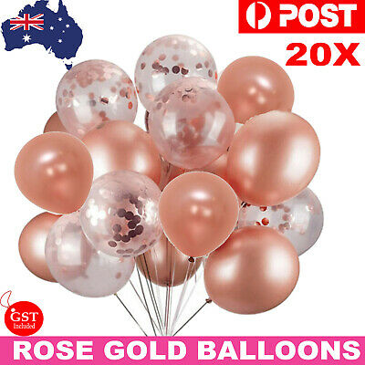 20pcs Rose Gold Confetti Balloons Helium For Birthday Marriage Party Decorations