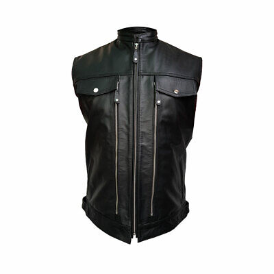 Mens Real Cow Leather Black Motorcycle Biker Style Vest Waistcoat