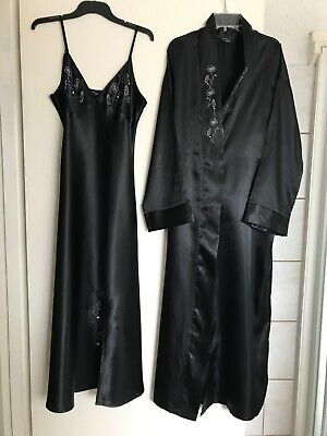 Sleep Expression Ladies Size 12 Black 2 Piece Long Silky Nightgown & Robe