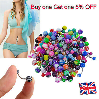 50Pcs Multi Belly Button Navel Ring Bars Body Piercing Jewellery Rings Makeup UK