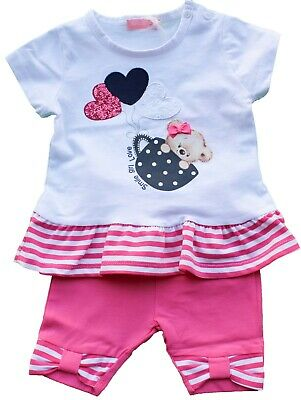 T.shirt Completo Estate Neonata Mini Abito + Leggings Taglie 3/18 Mesi