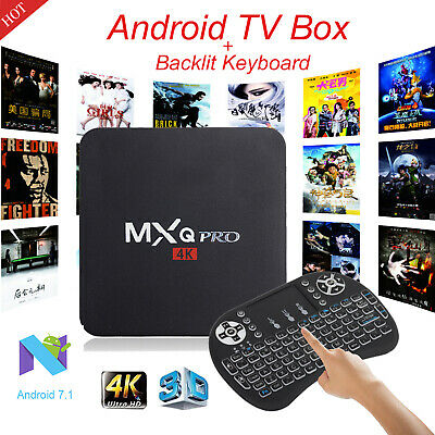 Hot MXQ PRO Quad Core Android 7.1 Smart TV Box 1+8GB WIFI 4K 3D with Keyboard i8