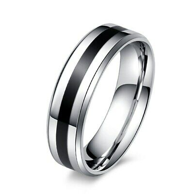 6mm Titanium Steel Men's Black Enamel Silver Bands Wedding Ring Size 7/8/9/10/11