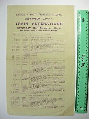 LONDON AND SOUTH WESTERN RAILWAY 1919 Train Alterations Saturdays new Timetable