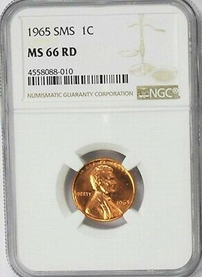 1965 P 1c SMS Lincoln Memorial Penny NGC MS66 RD Gem Uncirculated Red Coin