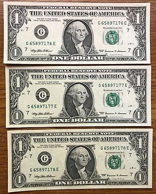 1999 $1 One Dollar Notes  - 7 G - Chicago - Set of 3 in sequence - Uncirculated
