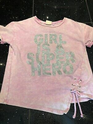 3e14568b ZARA GIRLS AGE 5 Tshirt Superhero Glitter Clothes - EUR 1,12 ...