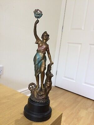 """Deco, Spelter, Cold Painted, Bronzed, Bakelite Base. 12.5"""" Statue"""