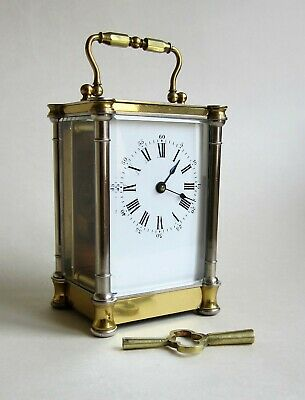 An attractive 1860s small 8 Day Carriage Clock timepiece by Alfred Baveux.