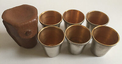 Antique Leather Cased Set Six Silver Plate & Gilt Hunting/Shooting Stirrup Cups
