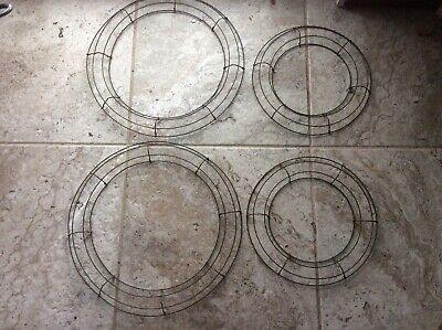 "Lot of 4 Vintage Round Wire Wreath Forms Christmas Xmas Floral Decor 12"" & 16"""