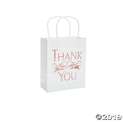 Rose Gold Foil Thank You Gift Bags Pack of 12