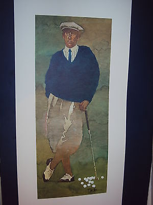 """ARTIST SIGNED! Bart Forbes golf art print  """" The Golfer """" Vintage Male  Classic"""