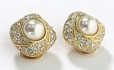 ROMAN Signed Gold-tone Crystal & Pearl Clip On Earrings WORN ONCE