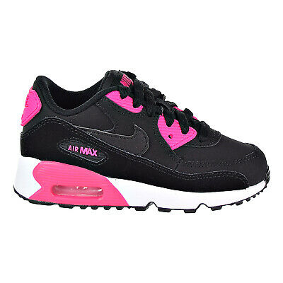 new product 19c8d 47bd5 Nike Air Max 90 Leather (PS) Kid s Sneaker Shoes Black Pink 833377-