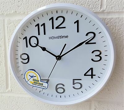 Hometime White Case Silent Sweep Wall Clock Plastic Large Numbers Widdop ii