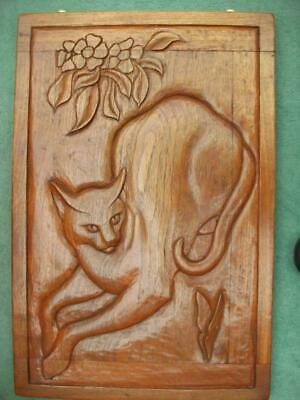 VINTAGE Wall Art  MID CENTURY HAND CARVED TEAK SIAMESE CAT PICTURE c1950