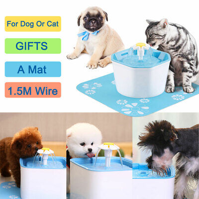 1.6L Flower Automatic Electronic Pet Cat Dog Water Drinking Fountain Bowl Filter