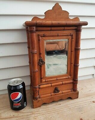 FAUX BAMBOO FRENCH MINIATURE  DOLL ARMOIRE CABINET SALESMAN SAMPLE 19th c
