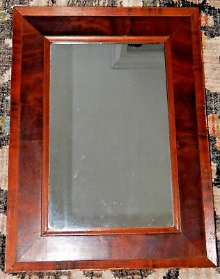 Antique FEDERAL Red FLAME Mahogany Veneer MIRROR Picture Frame c1840s 14 x 19 in