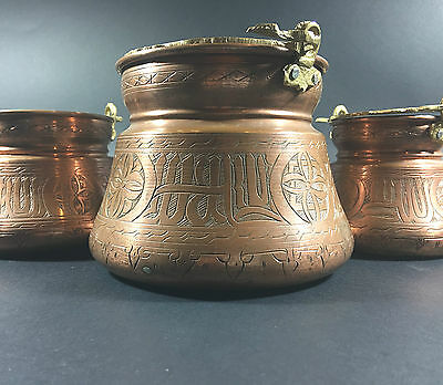 Islamic Persian Vintage Art Engraved Arabic Calligraphy Brass, Set of 3 Bowls
