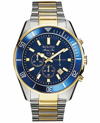 *BRAND NEW* Bulova Men's Two Tone Steel Bracelet Blue chronograph   Watch 98B230