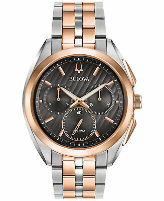 *BRAND NEW* Bulova Men's Two Tone Stainless Steel Case Gray Dial Watch 98A160