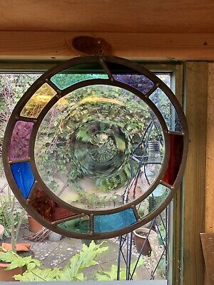 Round Hanging Stained Glass Leaded Window With Hand Blown Bullion