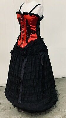 Steampunk Gothic Outfit By Raven Satin Corset With Full Skirt