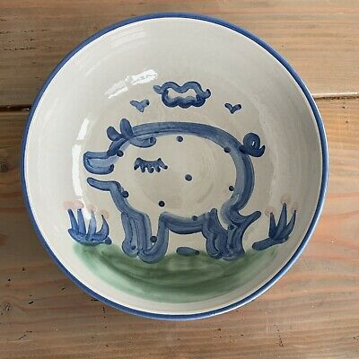 """M A Hadley Pottery Large Serving Bowl Pig  8.25"""", 4"""" Tall"""